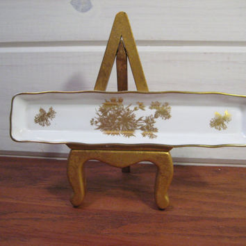 Hammersley & Co. Vintage Pin Tray, Bone China Golden Cornflower Pattern Made in England