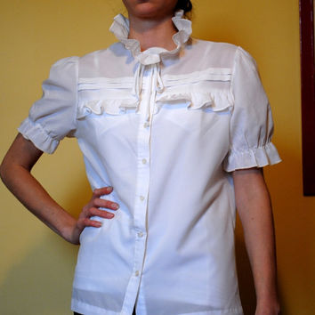1980s Vintage Blouse White Ruffles Gathered Short Sleeves Secretary Shirt Women Button Top