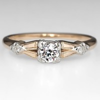 Eco-Friendly Vintage Old Euro Diamond Engagement Ring 14K Gold