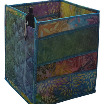 Table Top Organizer Pencil Box in Multicolored Batiks