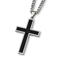 """Crucible Stainless Steel Black Carbon Fiber Inlay Cross Pendant Necklace - 24"""""""