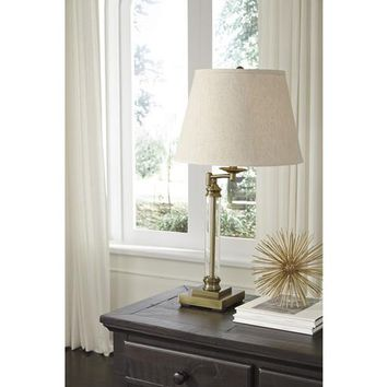 L734184 Arwel Glass Table Lamp (1/CN) - Antique Brass Finish - Free Shipping!