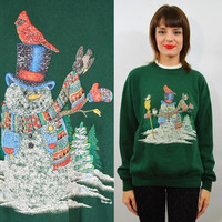 Ugly Christmas Sweater Sweatshirt Med Large Vintage 90s Snowman Cheap Tacky Xmas Holiday Green Oversize Slouchy Mens Women Unisex Party