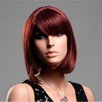 Women's Kanekalon Medium Length Straight Wig with Side-Swept Bangs (Bronze-Red)