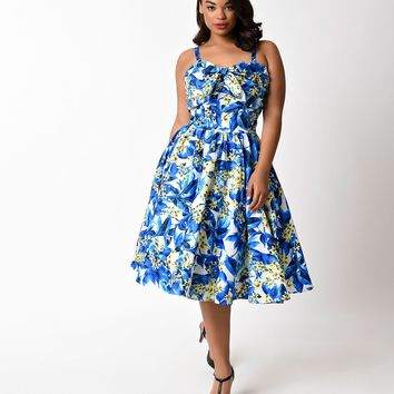 Unique Vintage Plus Size Blue & Yellow Floral Golightly Swing Dress