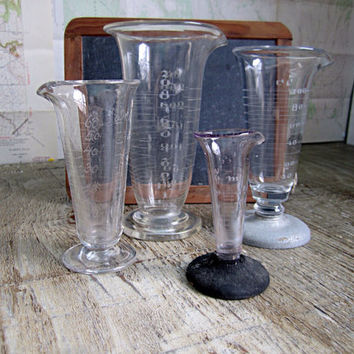 Vintage Collection of 1920's Glass Beakers, Whitall Tatum Co., Glassco,  Etched Glass rare. Hand Blown ~ Curiosity