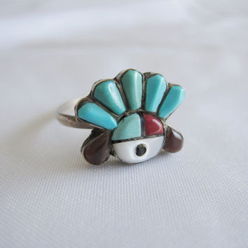Estate Vintage Sterling Silver Zuni Native American Headdress Sun Face Figural Coral Turquoise Amethyst Southwest Pearl Head Dress Ring