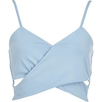 River Island Womens Light blue cut out wrap bralet