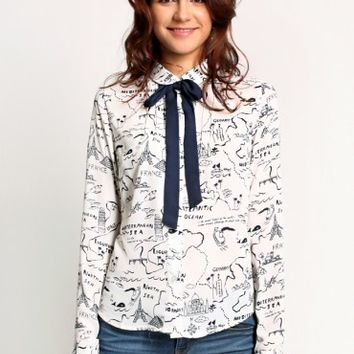 Around The World Printed Blouse