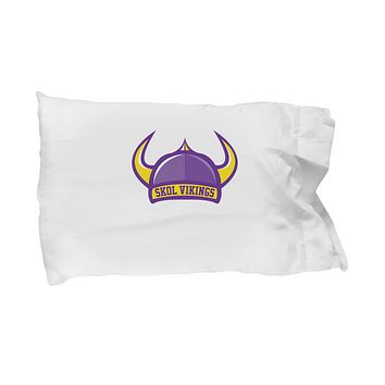 Skol Vikings Football Hat Horns Purple And Yellow Bedding Pillow Case