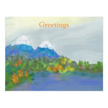 Greetings Postcard with beautiful landscape