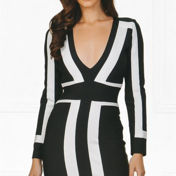 Indie XO Always On Time Black White Color Block Bandage Long Sleeve Plunge V Neck Bodycon Mini Dress - As Seen on Amrezy