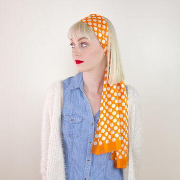 vintage polka dot scarf / satin hair scarf headband / silk hair scarf head wrap / 60s silk neck scarf / long silk scarf headband