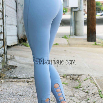 Blue Full Length Leggings