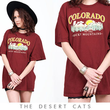 vintage 90s t-shirt vintage 1990s maroon colorado rocky mountaints travel souvenir t-shirt vintage 90s grunge top