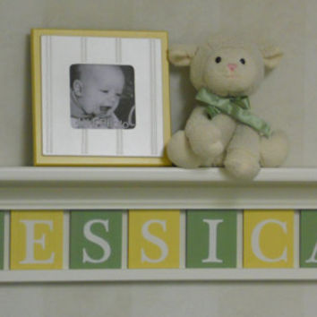 "Yellow and Green Baby Girl Nursery Wall Decor 30"" Linen White Shelf - Sign with 7 Wood Block Letters Personalized for JESSICA"