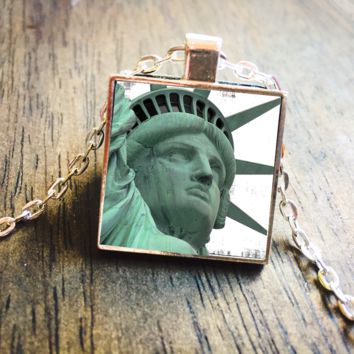 Statue of Liberty Staten Island Silver Pendant Necklace Jewelry