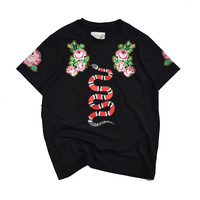 Gucci  Couple loaded flower printing Beaded T-shirt