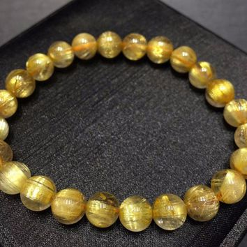 Top Natural Brazil Gold Rutilated Titanium Quartz Round Beads Bracelet Women Man 8mm Stretch Crystal Certificate AAAAAA