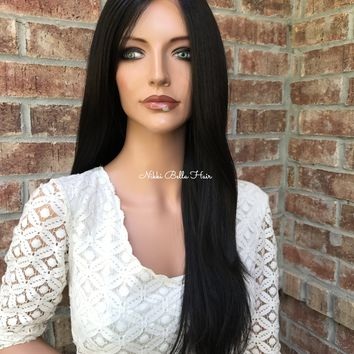 Darby Brown Straight Human Hair Blend Multi Parting Lace Front Wig 22""