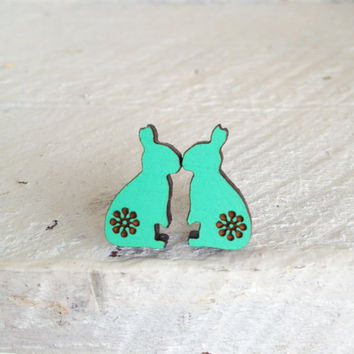 Summer Love Bunny Wooden Studs in Mint Green - Laser Cut Wood Hand Painted Rabbit Earrings