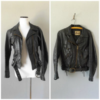 Leather Moto Jacket Black Vintage 70s Crop Mens Womens Motorcycle Biker Coat Sz S/M Small Medium Grunge Rocker Jackets 1970s Boho Top Dress