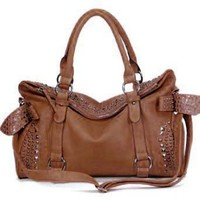 MyLux Women Fashion Hobo Purse Handbag 120885 Coffee