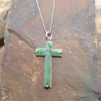 Sterling Silver and Jade Cross Pendant on Delicate Sterling Silver Box Chain
