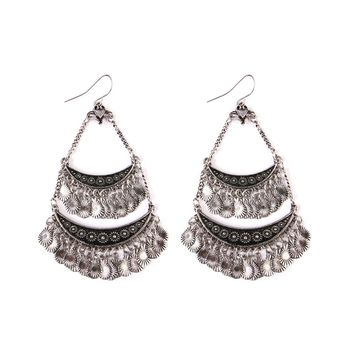 Burnish Silver Bohemian Chandelier Earrings