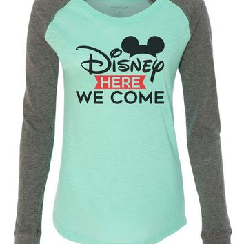 "Womens ""Disney Here We Come"" Long Sleeve Elbow Patch Contrast Shirt"