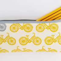 #Organic designer cotton #mustard #yellow and #gray bicycle pencil case, cosmetic case, makeup bag