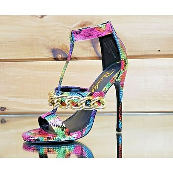 "Privileged Stag Rainbow Snake Print Gold Chain Strap 5"" High Heel Shoe 6-8"
