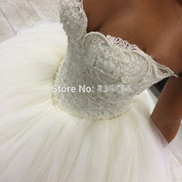 9066 2016 lace White Ivory Gown pearls Wedding Dresses for bride plus size maxi size 2 4 6 8 10 12 14 16 18 20 22 24 26