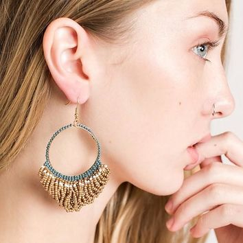 Beaded Hoop Style Drop Earrings Color (Gold/Multi)