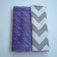 Chevron & Purple Minky Reversible Car Seat Strap Covers