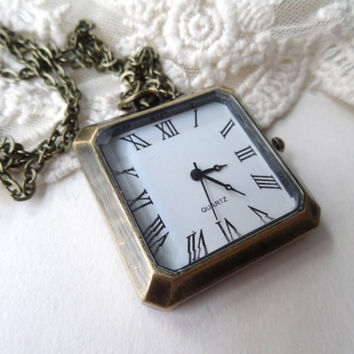 1- Square Pocket Watch Necklace Real Analog Clock Working Clock Pendant Time Piece Necklace Pocket Watch Necklace Finished Jewelry Inv0016