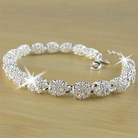 2018 New Silver color Jewelry Hollow Out Bead Bracelet Fashion Bracelet for Women Crystal Bangles Bracelet for Christmas Gift