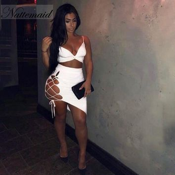 NATTEMAID Backless White 2 Piece Outfits For Women Two Piece Sets 2018 Bandage Sexy Two Piece Set Top And Skirt Set Summer Set