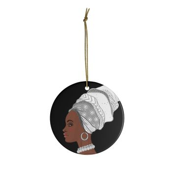 Melanin Queen White And Black Ceramic Ornaments