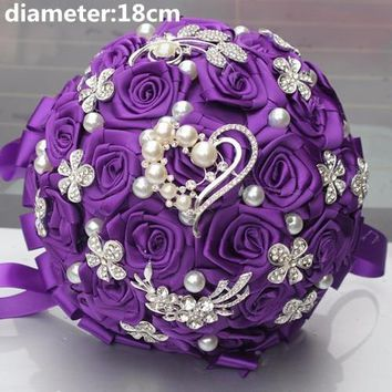Royal Blue White Brooch Wedding Bouquets Silk Rhinestone Artificial Rose Flowers Bridesmaid