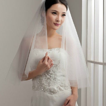 No lace soft tulle simple style 2 tiers wedding veils ivory white modern stylish mantilla bridal veil two tier metal comb any custom length
