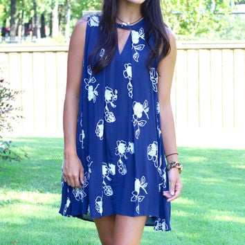 Embroidered in Lace Keyhole Tank Dress {Navy}