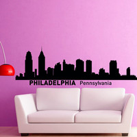 Philadelphia Pennsylvania City Skyline Silhouette Wall Decal Vinyl Sticker Art Home Decor for Living Room C012