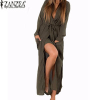 Zanzea Fashion  Autumn Women Casual Loose Deep V-Neck Long Maxi Dress Sexy Split Chiffon Dress Plus Size Vestidos