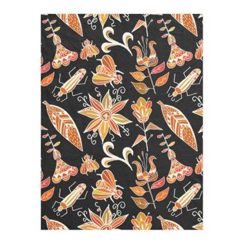 Cute Girly Vintage Floral Aztec Tribal Pattern Fleece Blanket