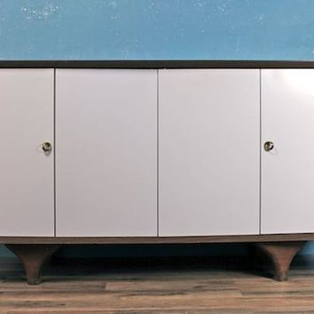 Mid Century White Accordion Door Credenza