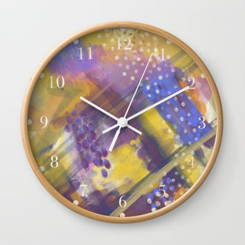 Abstract Plaid Wall Clock by patternmuse