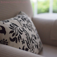 Home Decor Pillow Cover Cream Cotton Black Damask Graphic Floral Print 12 x16