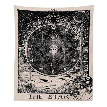 Mayitr Tarot Cards Style Vintage Wall Hanging Tapestry Magical Moon Sun Star Printed Bedspread Large Tablecloth 130*150cm