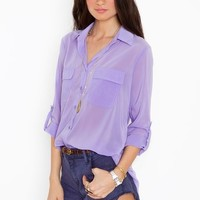 Chloe Pocket Blouse - Lilac in  Clothes at Nasty Gal